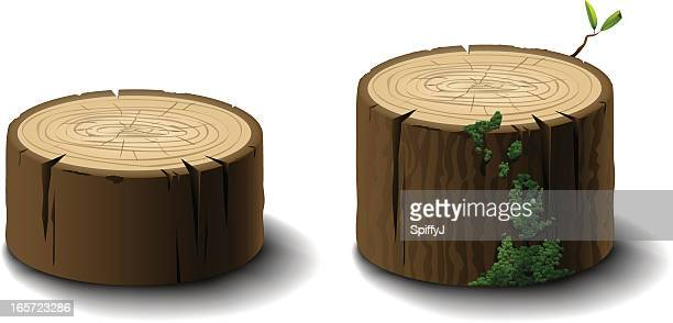 logs or tree stumps - tree trunk stock illustrations, clip art, cartoons, & icons