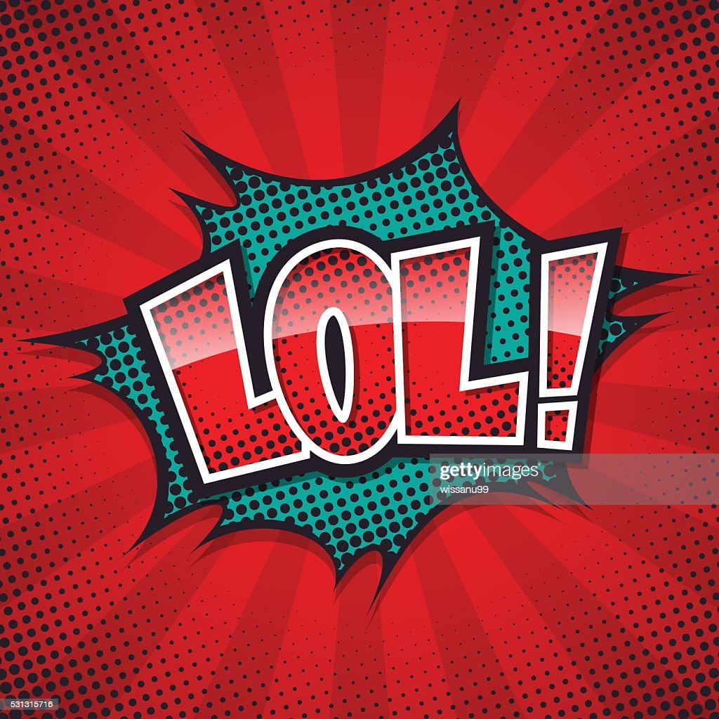 lol comic speech bubble, color halftone design. vector illustrat