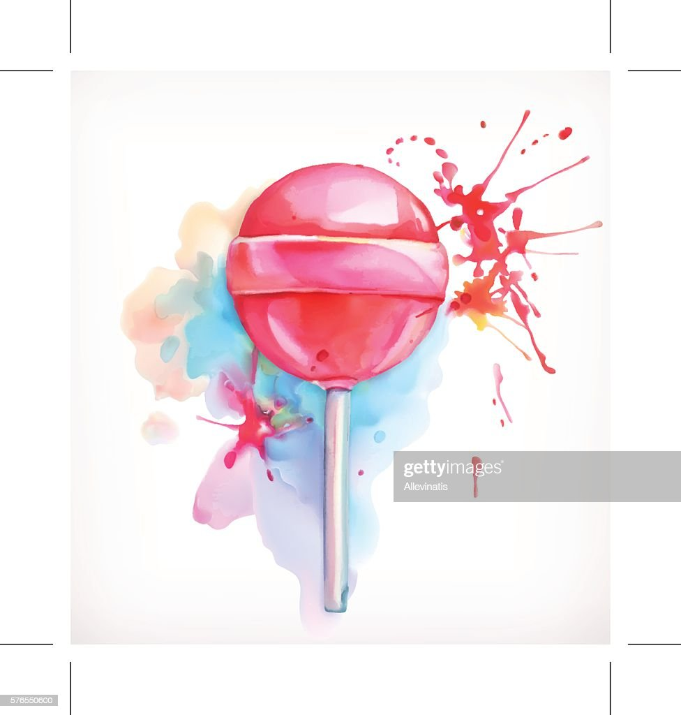Lollipop candy vector illustration, watercolor painting, isolated on white background