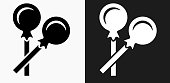 Lollipop Icon on Black and White Vector Backgrounds