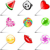 Lollipop icons vector set