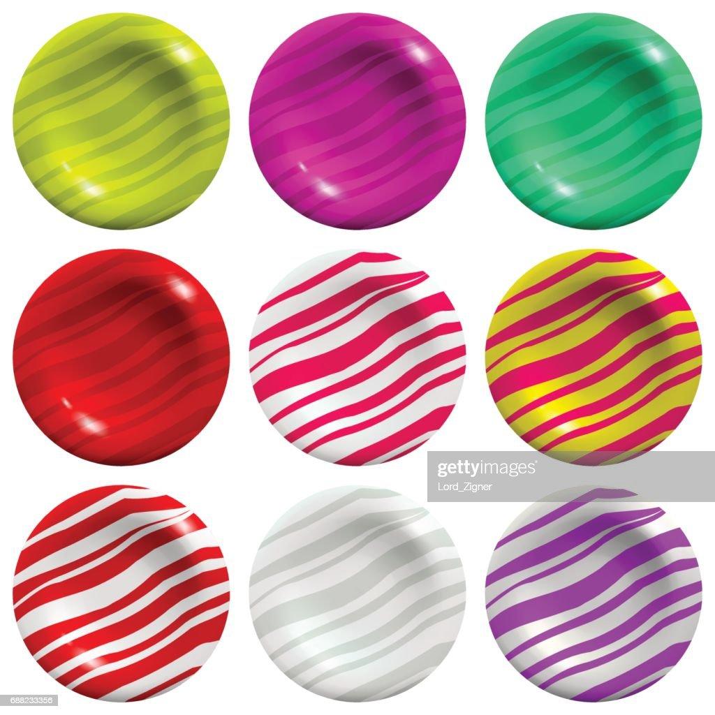 Lollipop set isolated on white background. Vector Illustration