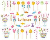 Lollipop set vector hand drawn doodle illustration