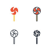 Lollipop sweet food vector icon flat line silhouette colored