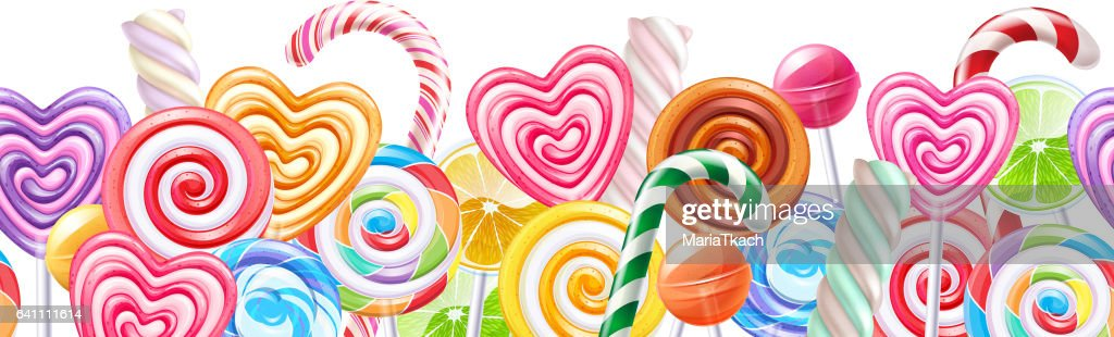 Lollipops candy border background. Hard candies on stick
