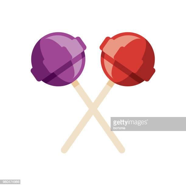 lollipops flat design dessert icon - lollipop stock illustrations
