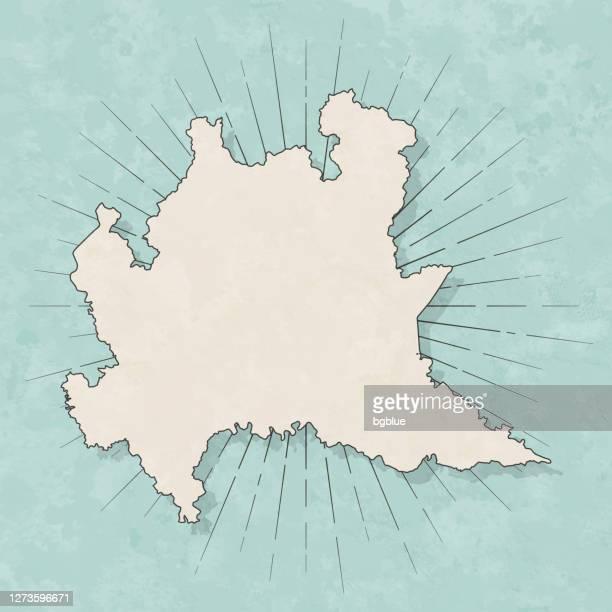 レトロなヴィンテージスタイルのロンバルディアマップ - 古いテクスチャペーパー - ロンバルディア州点のイラスト素材/クリップアート素材/マンガ素材/アイコン素材