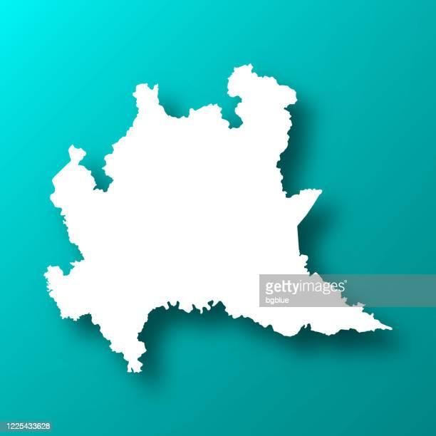 影のある青緑色の背景のロンバルディアマップ - ロンバルディア州点のイラスト素材/クリップアート素材/マンガ素材/アイコン素材