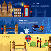 London attraction banner. Travel to United Kingdom Great Britain vector illustration