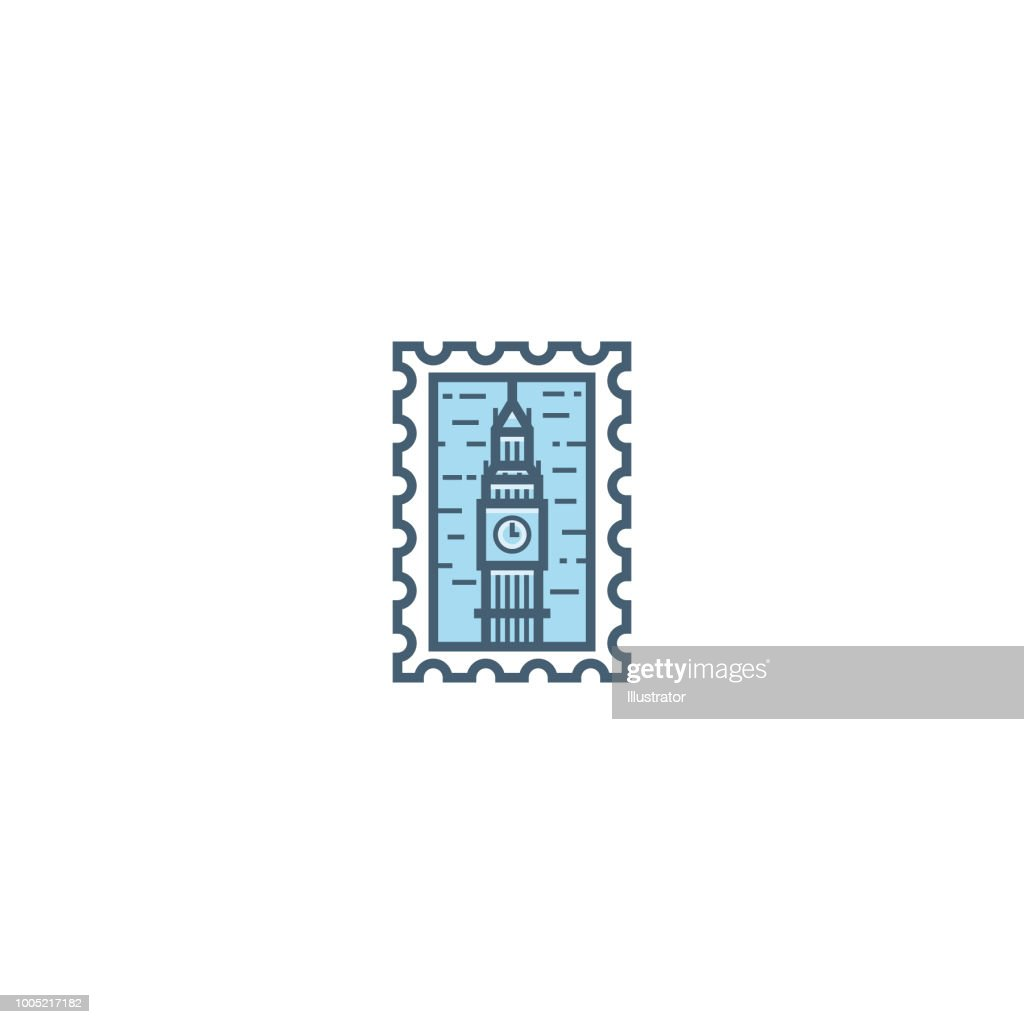 UK London Big Ben line stamp icon