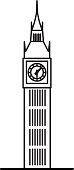 London Big Ben linear illustration