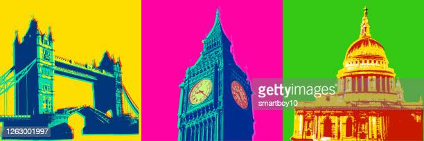 london buildings and icons - british culture stock illustrations