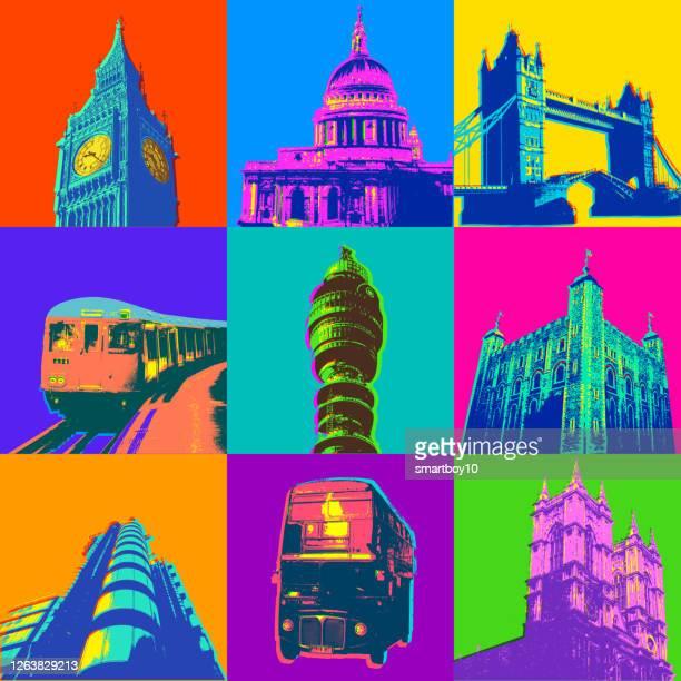 ロンドンの建物とアイコン - セントラル・ロンドン点のイラスト素材/クリップアート素材/マンガ素材/アイコン素材