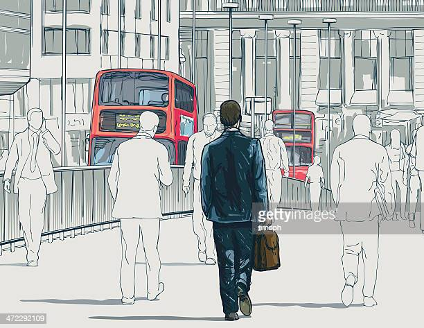 london buses - commuter stock illustrations, clip art, cartoons, & icons