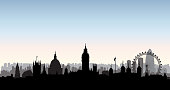 London city buildings silhouette. English urban landscape. London cityscape with landmarks. Travel Untied Kingdom skyline background.
