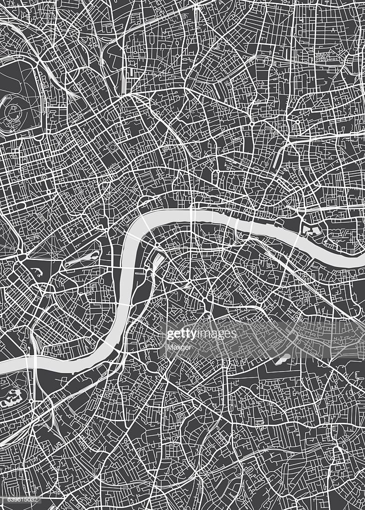 London city plan, detailed vector map