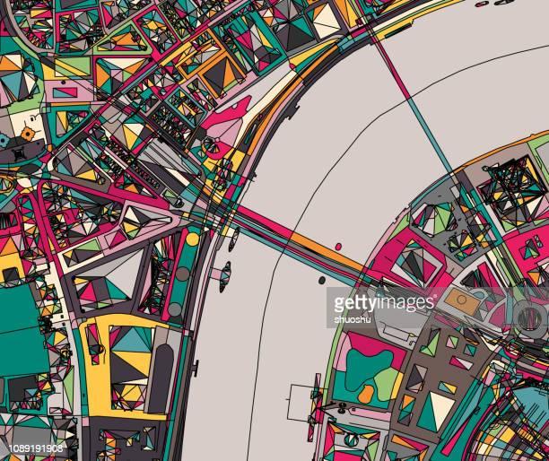 ロンドン都市構造小話地図 - テムズ川点のイラスト素材/クリップアート素材/マンガ素材/アイコン素材