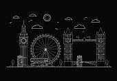 London City Thin Line Art. Vector