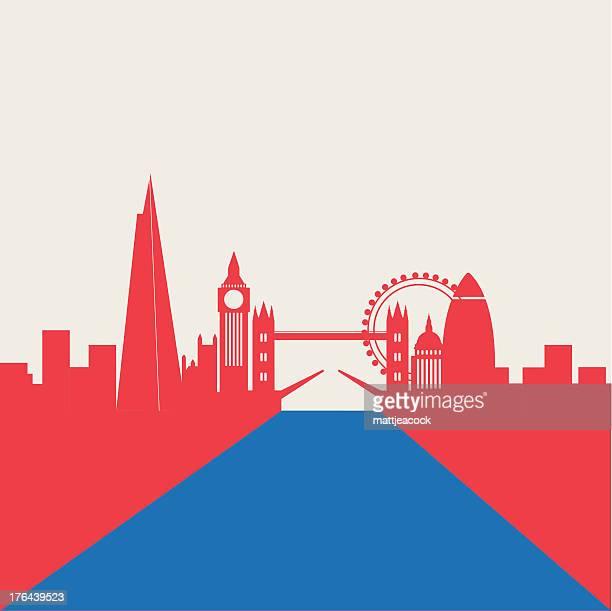 ロンドンの街並み - テムズ川点のイラスト素材/クリップアート素材/マンガ素材/アイコン素材