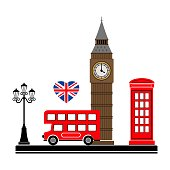 London city. Vector illustration with London symbols.