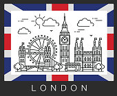 London, Great Britain. Illustration Big Ben and the flag of Britain.