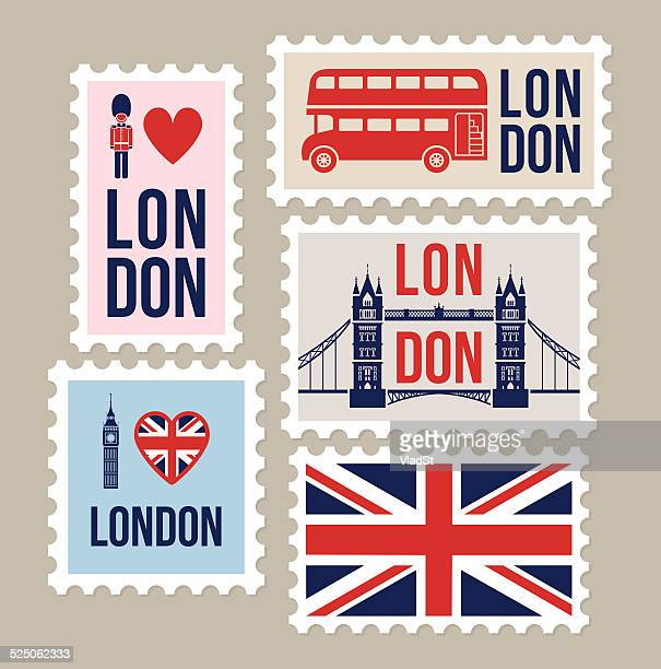 london great britain mail travel stamps - london england stock illustrations