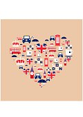 London icons arrange in the form of heart. England icon