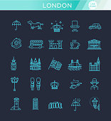 London icons set. England, thin line design