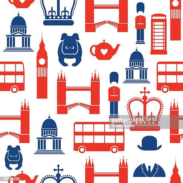 illustrazioni stock, clip art, cartoni animati e icone di tendenza di seamless pattern di londra - cultura britannica