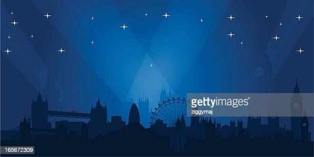 ロンドンの街並みの夜景 - 英国 ロンドン点のイラスト素材/クリップアート素材/マンガ素材/アイコン素材