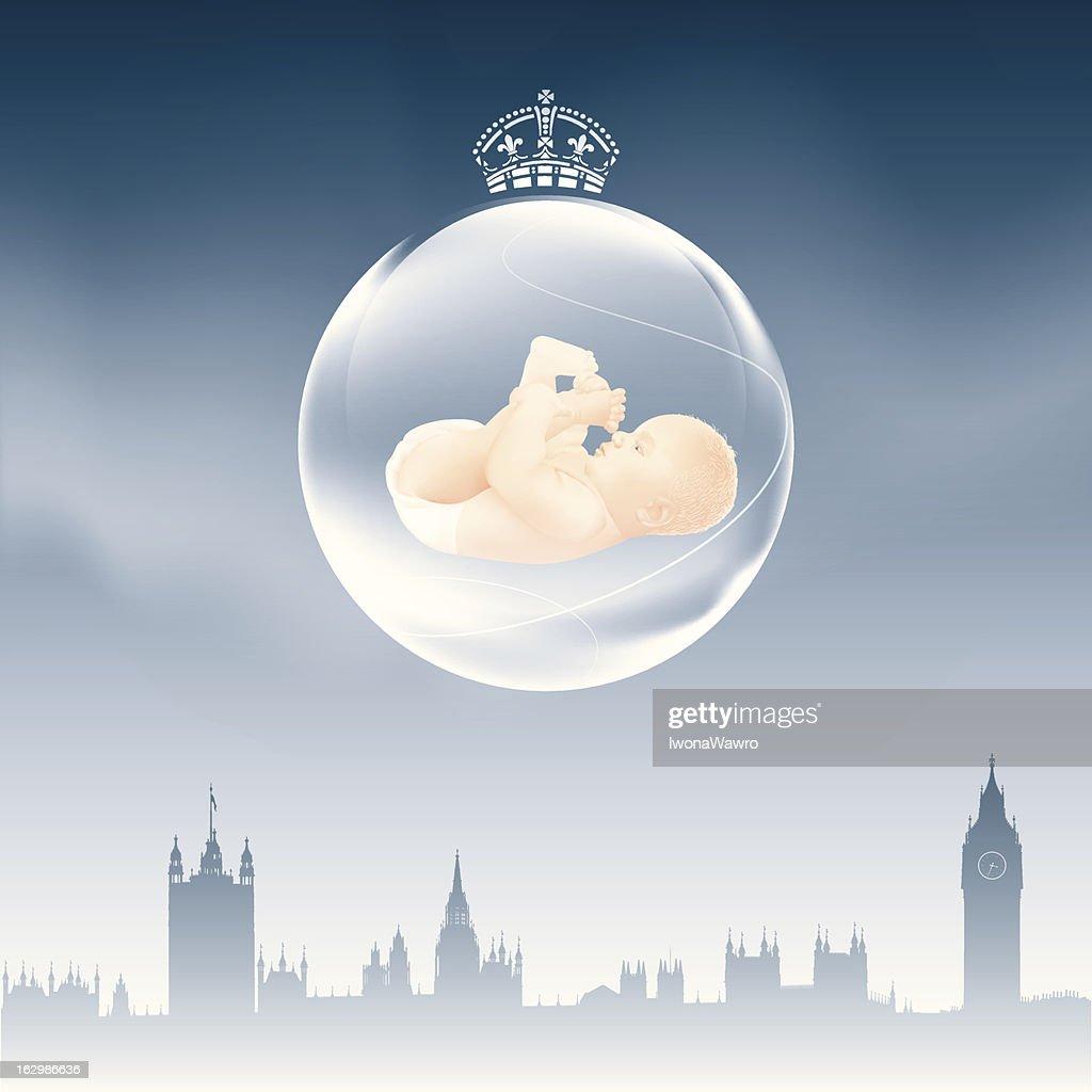 London Skyline – Christmas bulb with baby on dark night sky