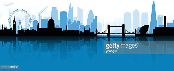 london skyline silhouette - skyline stock illustrations