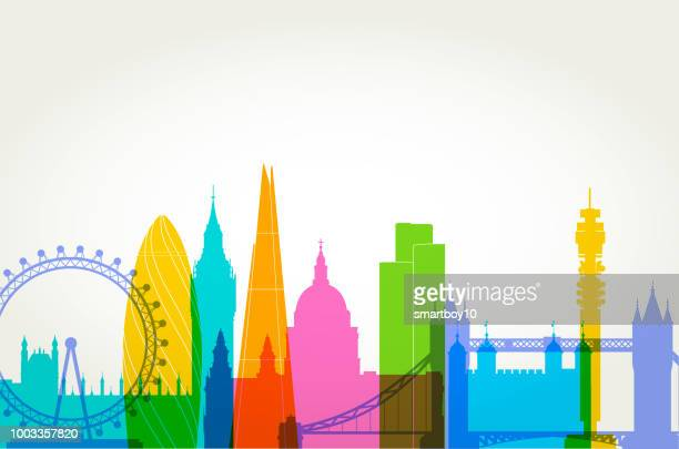 london skyline - international landmark stock illustrations