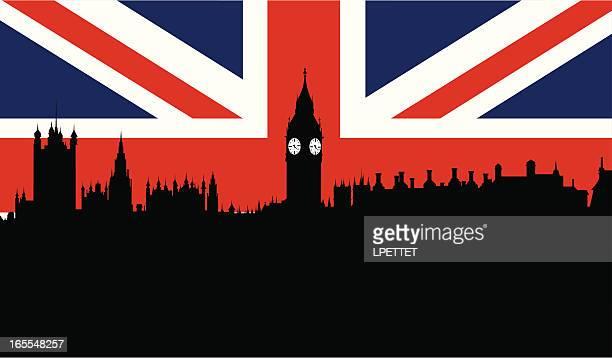 illustrations, cliparts, dessins animés et icônes de horizon de londres - drapeau anglais