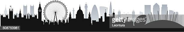 london skyline (complete, moveable, detailed buildings) - london england stock illustrations