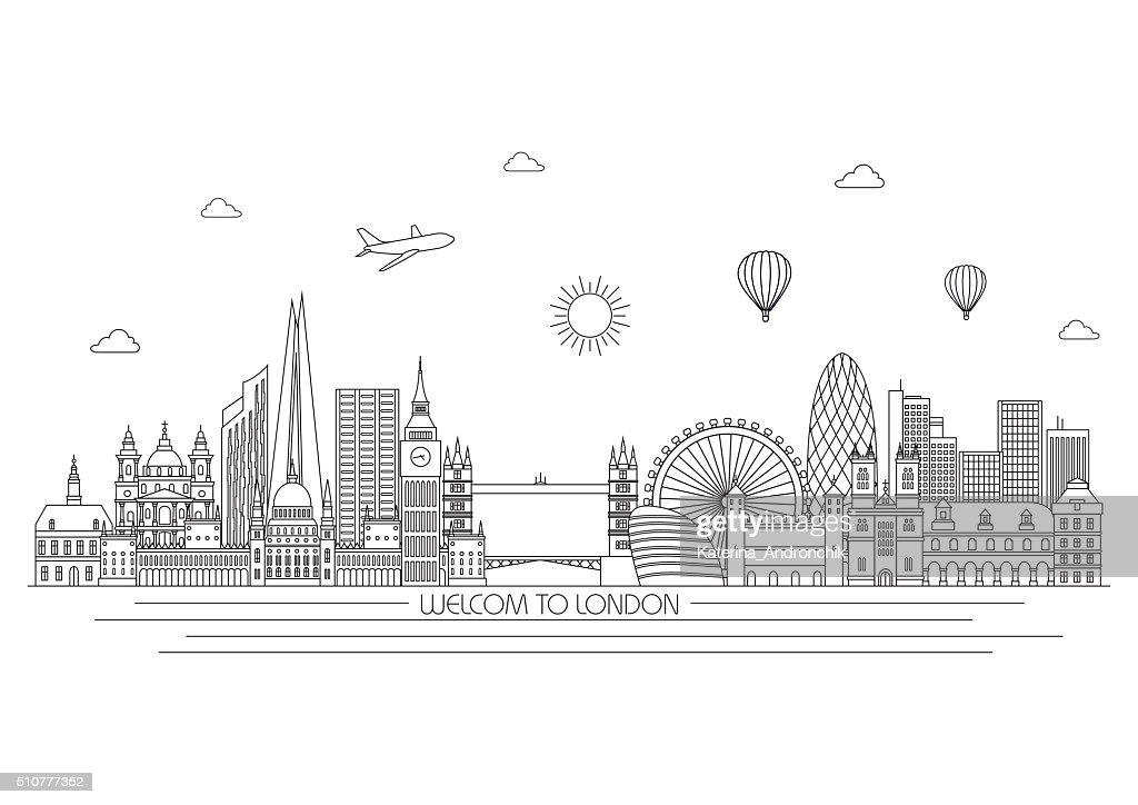 London skyline. Vector line illustration. Line style design
