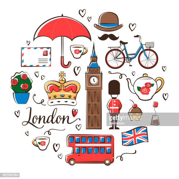 london symbols - england stock illustrations