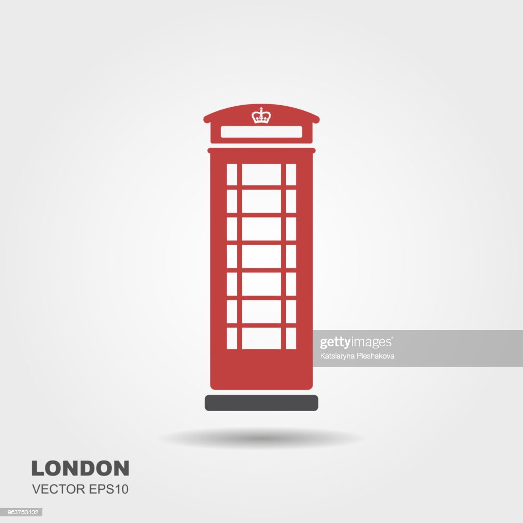 London telephone booth isolated on white background.