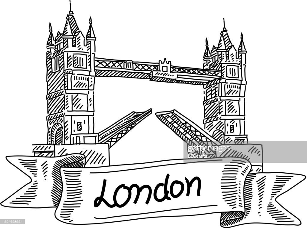 london tower bridge drawing vector art