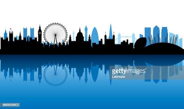 london (all buildings are complete and moveable) - skyline stock illustrations