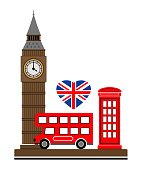 london; vector; illustration; bus; england; tower; red; symbol; telephone; travel; flag; city; tourism; britain; design; british; uk; icon; kingdom; english; united; drawn; isolated; symbols; architecture; europe; phone; tradition; country; brown; big ben