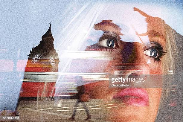 london, woman and memories - multiple exposure stock illustrations, clip art, cartoons, & icons