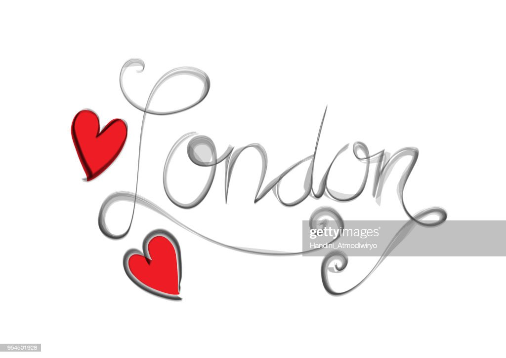 London word lettering with hearts