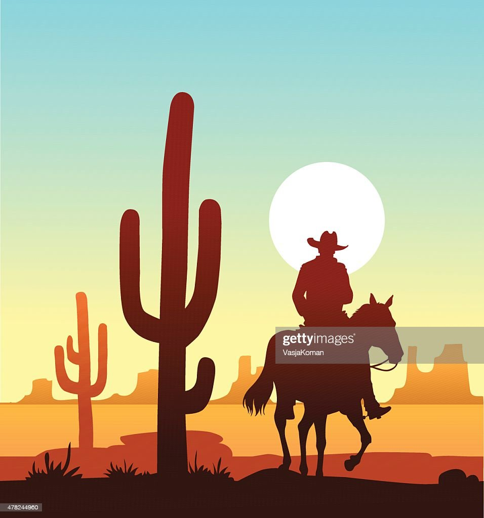 Lone Cowboy Riding in the Desert : stock illustration