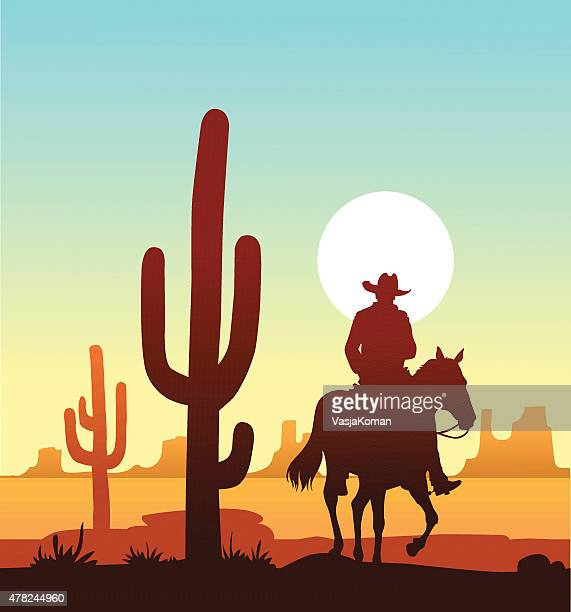 Lone Cowboy Riding in the Desert