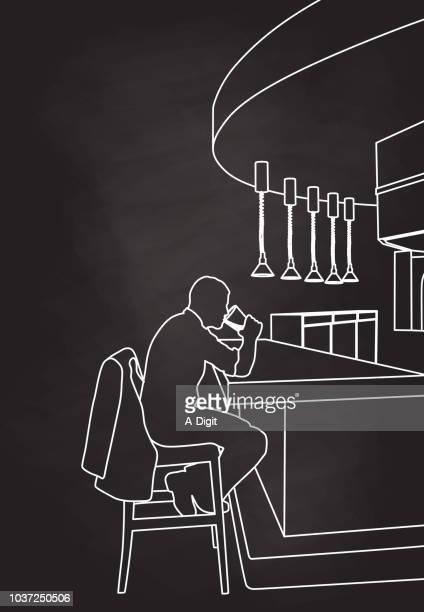 ilustraciones, imágenes clip art, dibujos animados e iconos de stock de bebedor solitario en el bar - bar