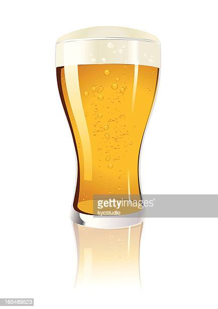 lone glass of beer in vector illustration - lager stock illustrations, clip art, cartoons, & icons