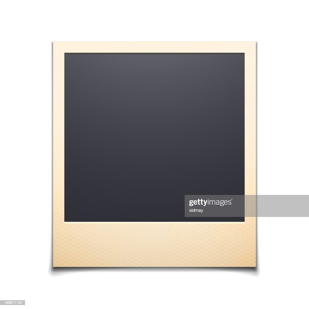 Lone instant photo frame over a white background