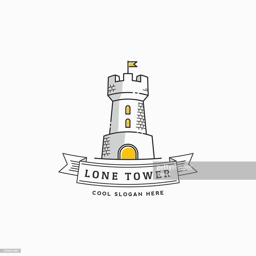 Lone Tower Abstract Vector Sign, Icon, Label or Logo Template