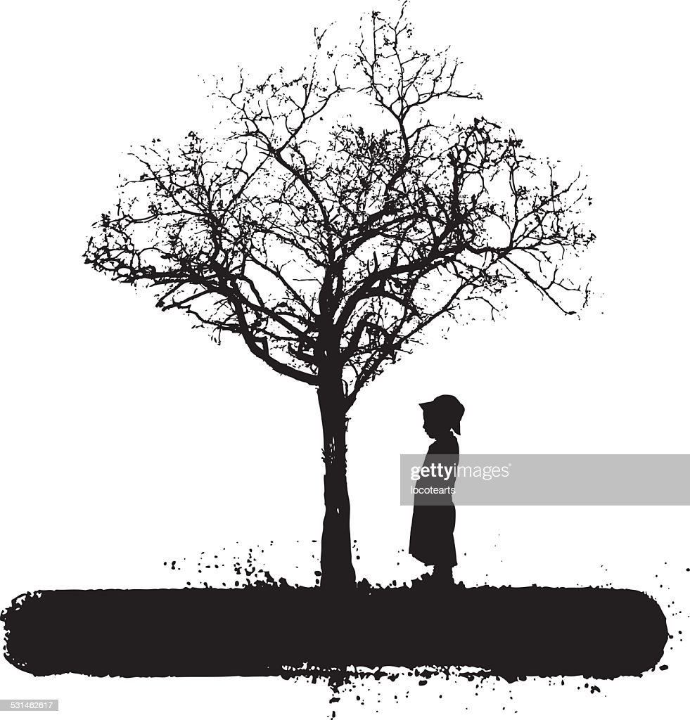 lone tree with little child